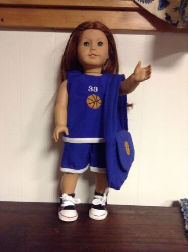 BASKETBALL OUTFIT W//MATCHING BAG FITS AMERICAN GIRL DOLL//BITTY BABY BLUE