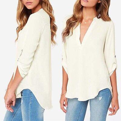 2015 new womens fashion chiffon long sleeve top shirt blouse au size 10-14