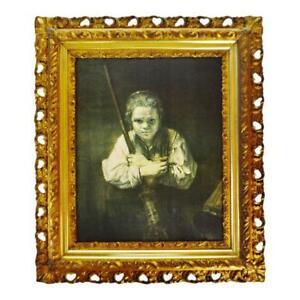 Antique Gilt Framed Rembrandt Girl With A Broom Textured Print On