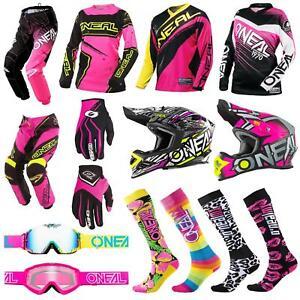 ONEAL-DONNA-MOTO-CROSS-MTB-SHIRT-ragazze-Jersey-Pantaloni-Rosa-Casco-bicicletta-DH-ENDURO