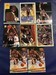 1990-1994-Hoops-Fleer-UD-WILLIE-BURTON-Lot-8-w-Rookie-Miami-Heat-Nice-Cards