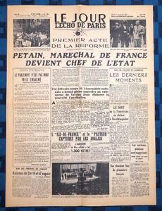 La-Une-Du-Journal-Le-Jour-L-Echo-De-Paris-11-Juillet-1940-Petain-Chef-De-L-etat
