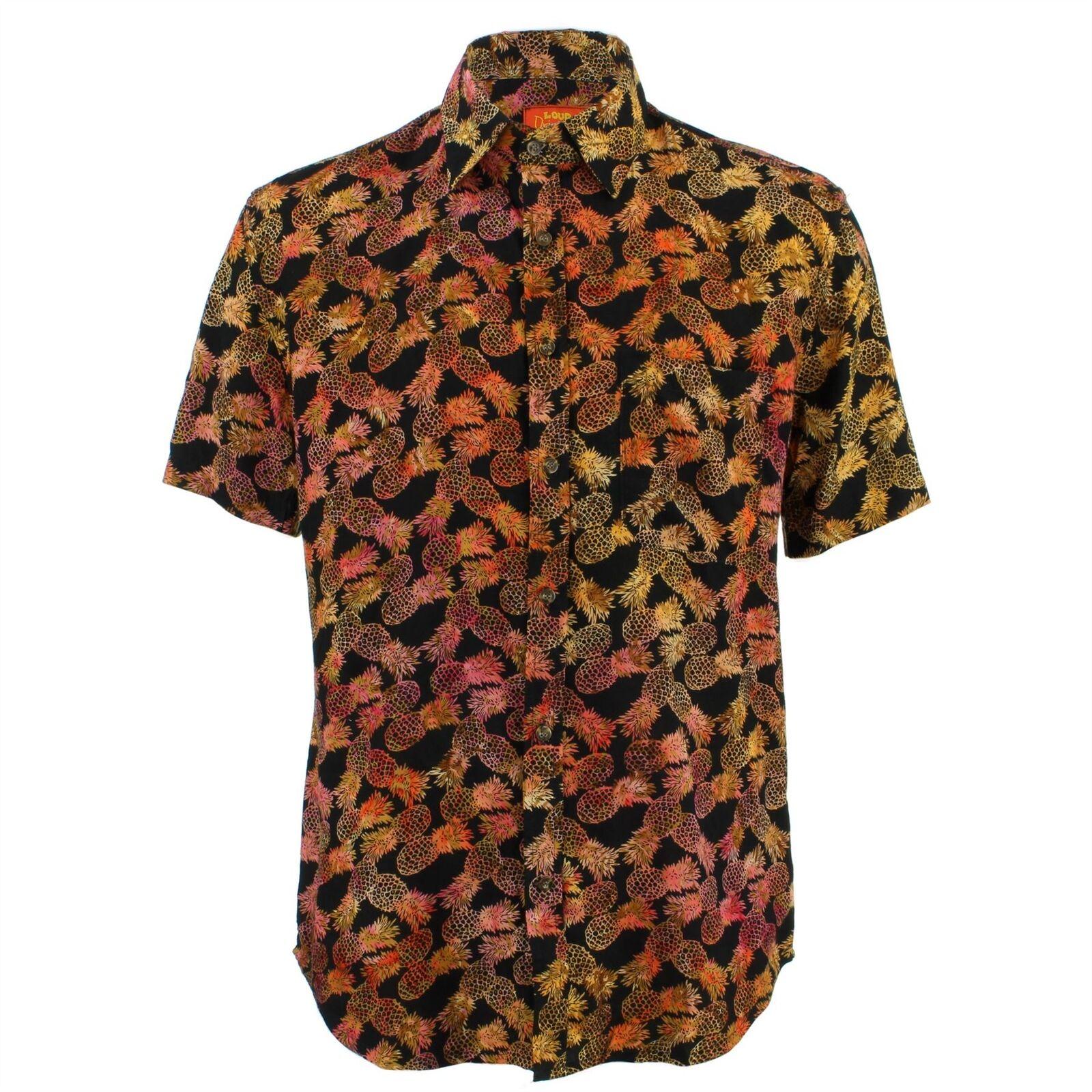 uomo Forte Camicia Tailored Fit ANANAS Nero Arancione Retro Psichedelico Costume