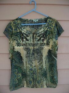 ONE-WORLD-WOMEN-039-S-TOP-SIZE-L-FITS-LIKE-XL-GOLD-amp-BROWN-NICE