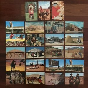 VINTAGE-LOT-of-22-Native-Americana-WESTERN-POSTCARDS-MOST-UNPOSTED