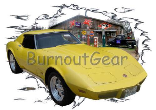 1973 Yellow Chevy Corvette Custom Hot Rod Garage T-Shirt 73 Muscle Car Tees