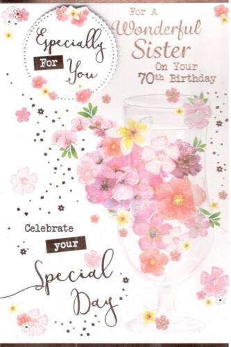 70th birthday card for sister various designs to choose from d 70th birthday card for sister various designs to choose from d flowers bookmarktalkfo Image collections