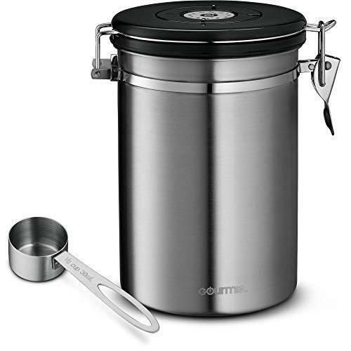 Gourmia Gcc9390 Stainless Steel Coffee Canister Storage Container Air Lid Ebay