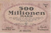 Solingen,Wald, Stadt, Notgeld,Gutschein,500 Millionen Mark,23.09.1923,Nr.064778