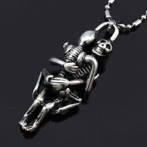 Tibet-Silver-Men-Infinity-Black-Stainless-Steel-Skull-Pendant-Chain-Necklace-Tip