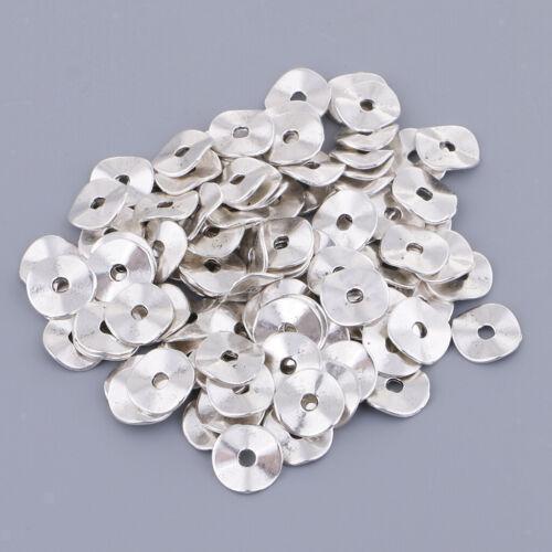 100x Antik Silber Ton Tortuose Ring Spacer Perlen 10mm DIY