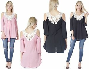 Women ladies cold shoulder floral lace applique party top plus