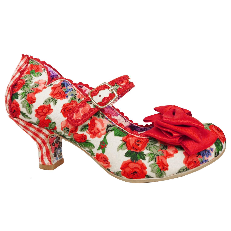 Irregular Choice 2019 Summer Breeze Floral Rétro Vintage 1950 S rose rouge chaussures