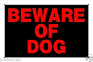 """BEWARE of DOG plastic SIGN 8""""x12 Fluorescent RED Security Warning HILLMAN 839924"""
