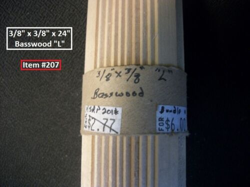 "Dollhouse Scale Lumber Basswood 3//8/"" x 3//8/"" x 24/"" /""L/"" BUNDLE Item /""207/""."