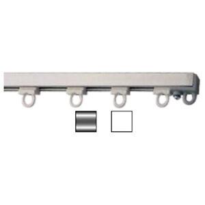 Binario per tende in alluminio argento o bianco con for Tende per finestre a soffitto