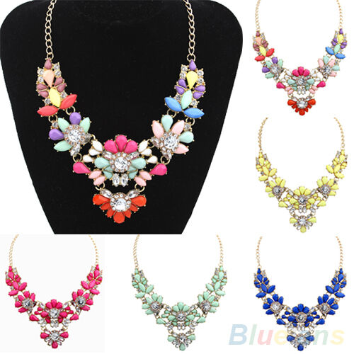 Crystal Flower Bib Statement Necklace Nobby Bubble Choker Collar Pendant Chain