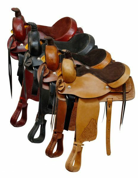 Buffalo Saddlery ROPER Style Floral Tooled 16  Western Pleasure Trail Saddle