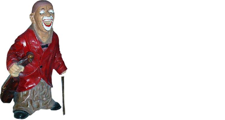 Design Clown-Geiger Figur Statue Skulptur Figuren Skulpturen Dekoration  5001