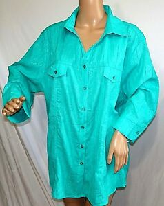 Southern Lady Women Plus Size 1x 2x 3x White Green Teal Aztec Tunic Top Blouse