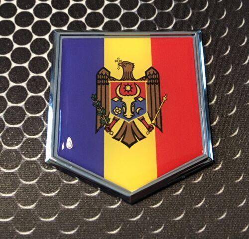 "MOLDOVA Flag Domed CHROME Emblem Proud Moldavia Flag Car 3D Sticker 2/""x 2.25/"""