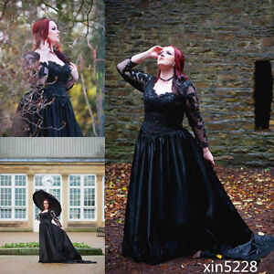 Long Sleeve Fall Winter Gothic Wedding Dress Black Bridal Gown