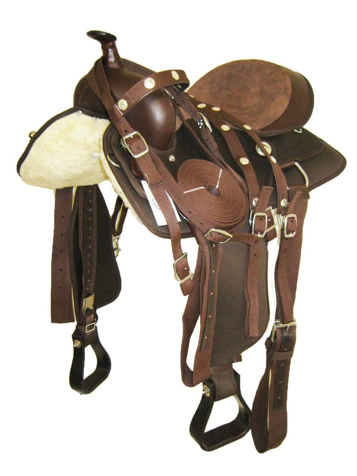 'THSL'  WESTERN PONY SYNTHETIC SADDLE PKG 13 Marronee 1120BR  nuovo