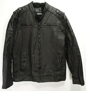 The-Buckle-Mens-Black-Utility-Distressed-Motorcycle-Moto-Sherpa-Lined-Jacket-XL