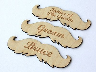 Wood moustache name tags! Engraved name place setting/personalised/table/party.
