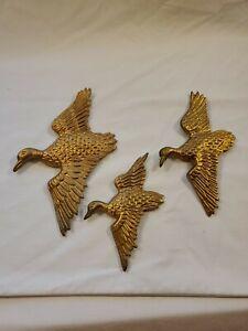 Set (3) Vintage Solid Brass Flying Geese/Ducks Hanging ...