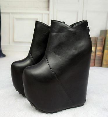 Women Super High Heel Chunky Platform 17cm Bare Boots Winter Zipper Shoes Zsell