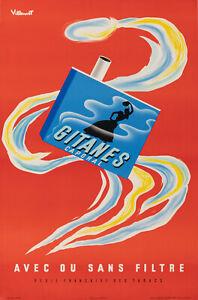 Affiche Originale - Bernard Villemot - Gitanes - Cigarettes - Tabac - 1957
