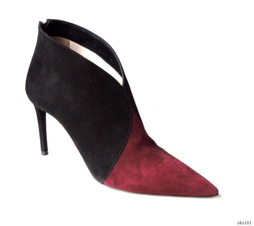 new $985 PRADA schwarz burgundy suede pointy toe zip back zip toe ANKLE Stiefel 40 10 - sexy a1ba4d