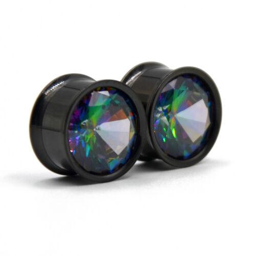 Colorido Aurora Circón Oreja Túnel enchufes indicadores expansor piercing joyería del cuerpo