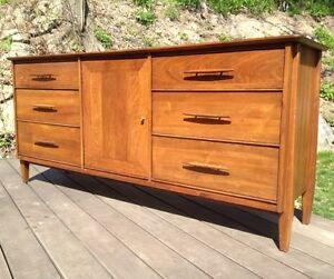 Vtg Mid Century Modern Davis Cabinet Co Triple Dresser Credenza ...