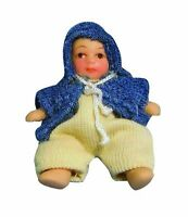1/12TH SCALE DOLLS HOUSE MODERN BABY BOY IN BLUE JACKET