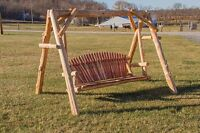 Rustic Red Cedar Log Swing And A-frame -amish Made In The Usa- Multiple Sizes