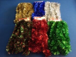 Details About Christmas Tree Garland In Red Green Gold Silver Blue Green Red 15 Ft New