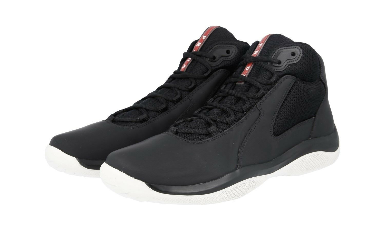 shoes HIGH-TOP SNEAKER PRADA LUSSO 4T2871 black BIANCO NUOVE 8 42 42,5