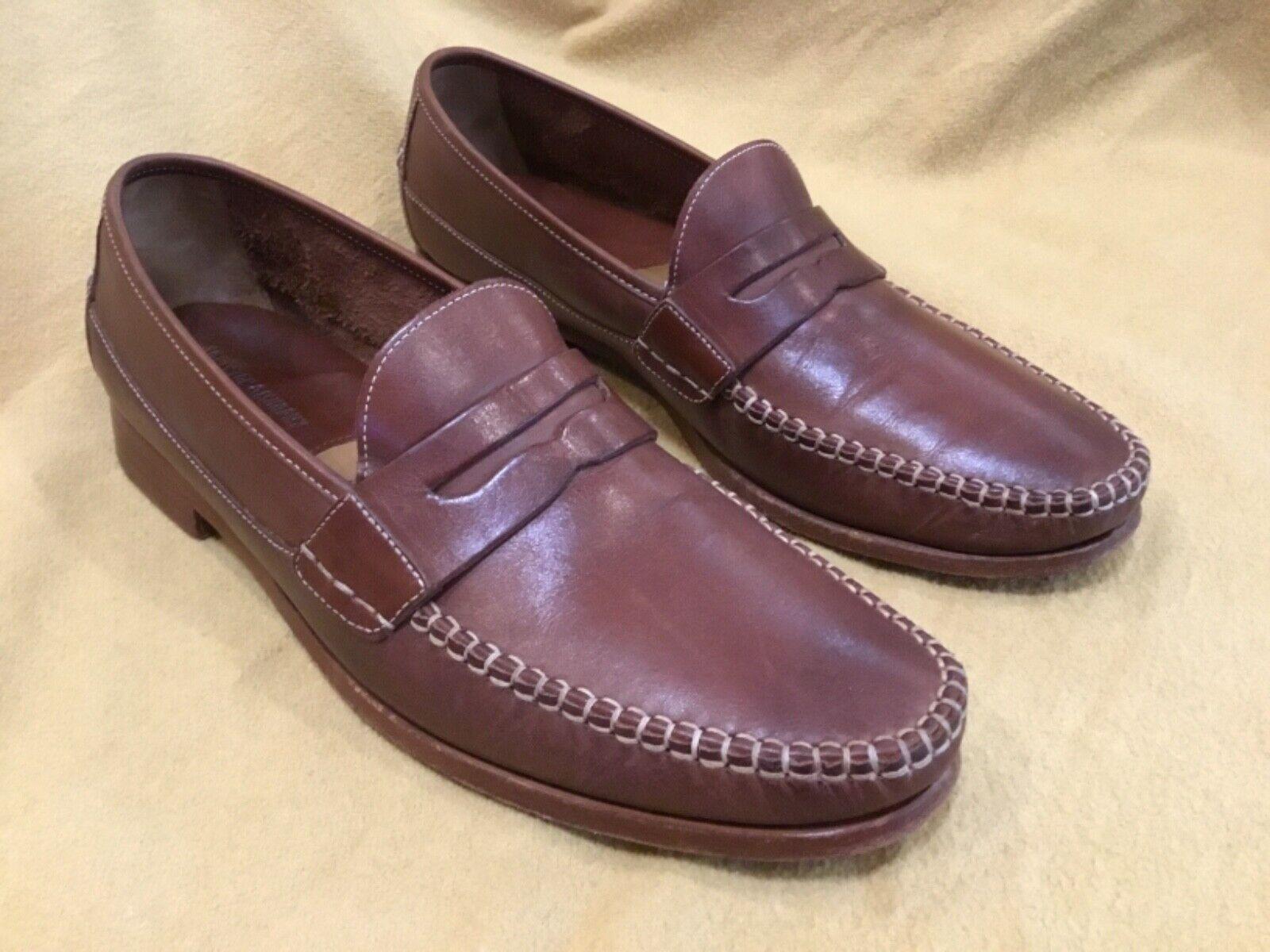 JOHNSTON & MURPHY Leather Brown Sz 11 M Men Sheepskin Lined Penny Loafers