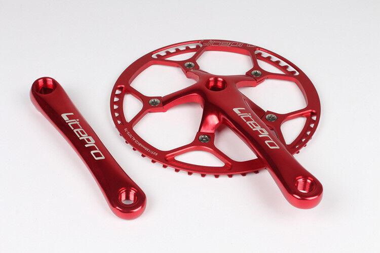 Litepro MTB Folding Bike crank arm 170mm Crankset Chainring 45 47 53 56 58T Red