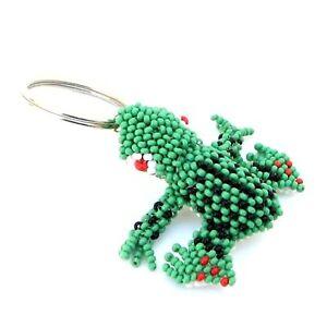 Frog-Beadwork-Key-Ring-Charm-Green-Czech-Seed-Beads-Key-Chain
