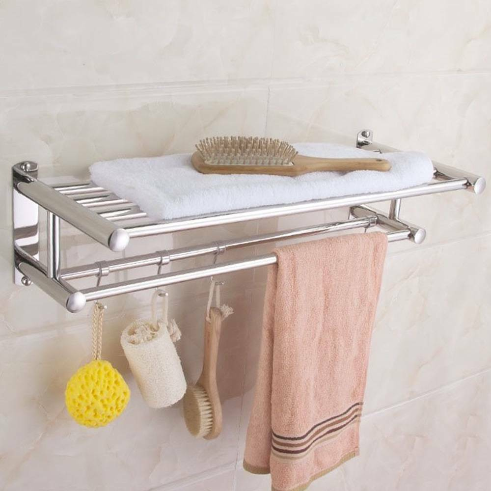 Wall Mounted Chrome Towel Holder Shelf Bathroom Storage Rack Rail New UKDC