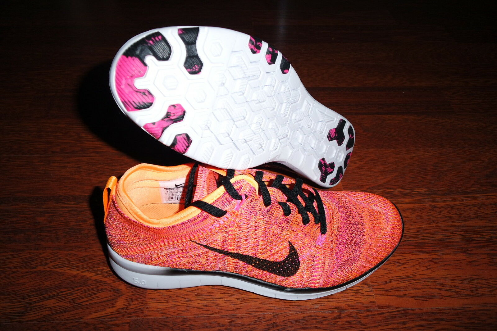 Nike Womens Free TR Flyknit Running BRIGHT CITRUS/PINK 718785 800 SZ 7.5