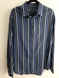 Gazman Men's Blue Strip Long Sleeve Shirt Size XXL