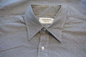 Thom-Browne-Blue-White-Plaid-Button-Up-Oxford-Mens-Cotton-Shirt-Sz-4