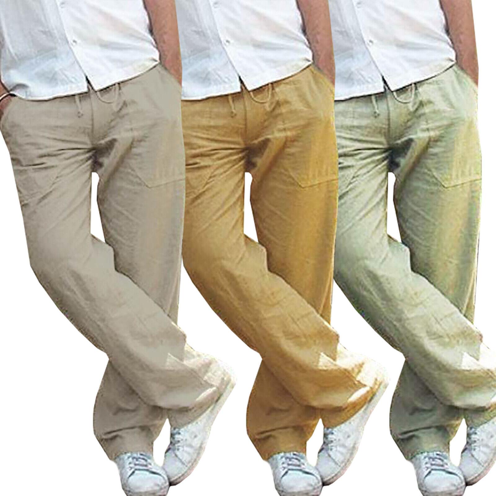 Mens Cotton Linen Loose Pants Summer Casual Beach Drawstring Trousers Slacks UK 2