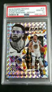 2019-Stephen-Curry-15-Panini-Mosaic-Prizm-Stare-Masters-Graded-PSA-GEM-MINT-10