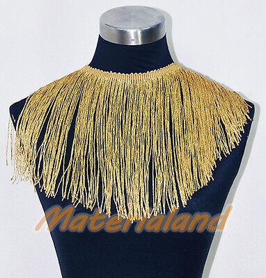 "18cm(7"") Gold Professional Chainette Fringe Tassel Dance Dress making FA01R"