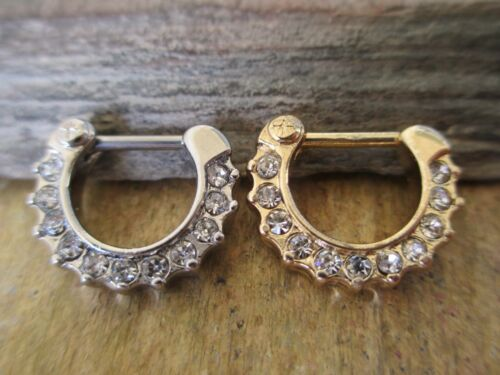1.6mm 1.2mm 16G Silver Crystal Gems Septum Nose Ring Clicker Hanger14G